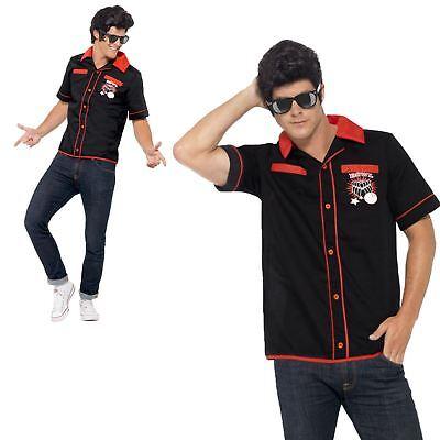 Bowling Kostüme (Erwachsene Herren 1950s Jahre Rock n Roll High School Bowling Hemd Kostüm TOP)