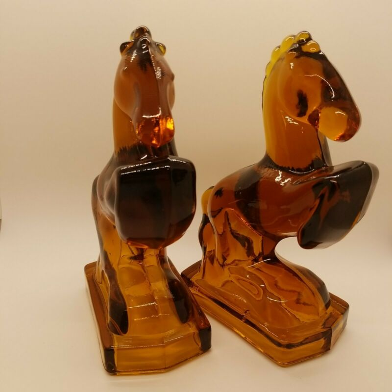 Vintage Amber Glass Horse Bookends, Possibly L.E. Smith? Heavy, Beautiful