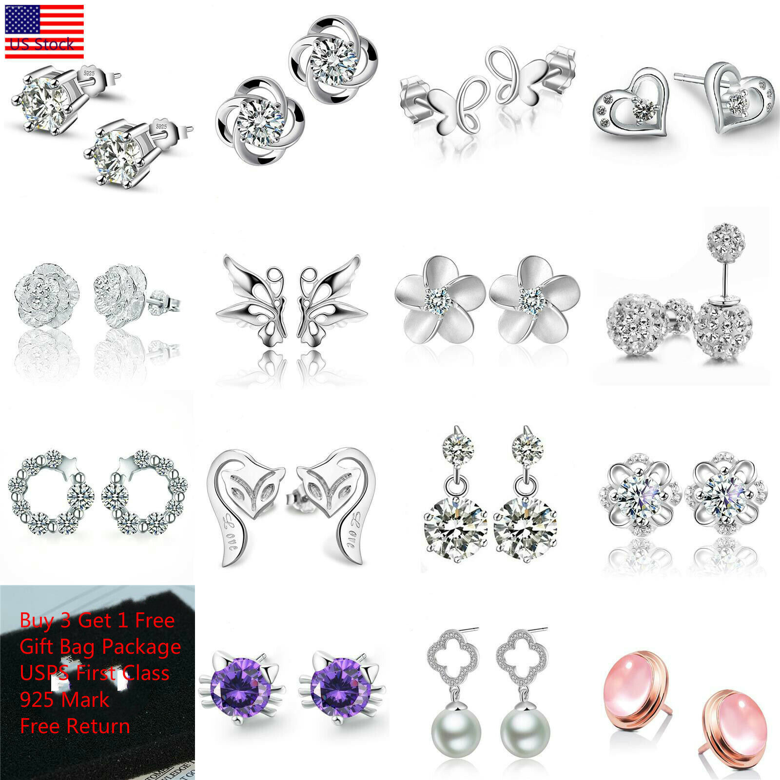 Women Fashion 925 Sterling Silver Crystal Rhinestone Elegant