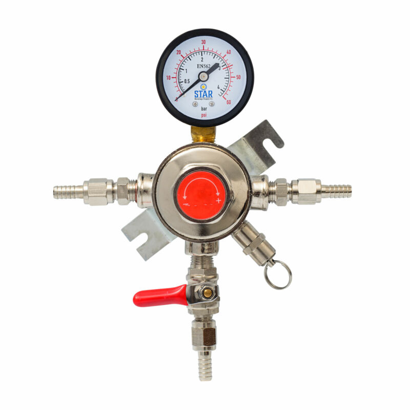 Draft Beer Secondary Co2 Pressure Regulator! Individually Control 1-4 Kegs!