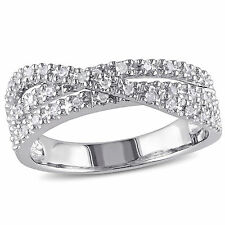 Sterling Silver 1/4 ct TDW Diamond Crossover Ring H-I I2-I3