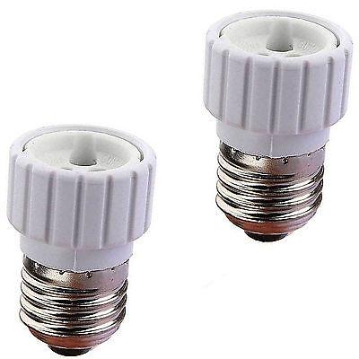 2x Casquillo Adaptador Conversor rosca E27 a GU10 para bombilla luz LED...