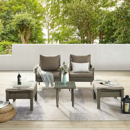 Garden Furniture - Outdoor Garden Furniture Patio Rattan Lounge Chair Chat Conversation Set Table
