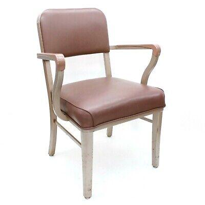 Vintage 1965 Steelcase Industrial Office Tanker Arm Vinyl Tan Seat Desk Chair