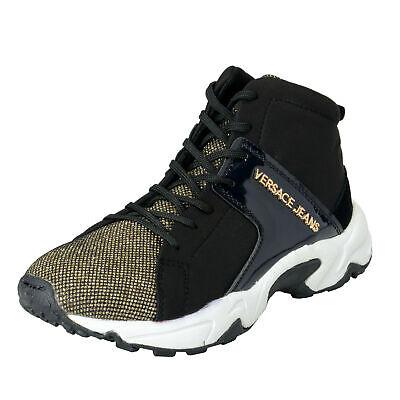 Versace Jeans Women's Black Sparkle Mesh Fashion Sneakers Shoes sz  9 11