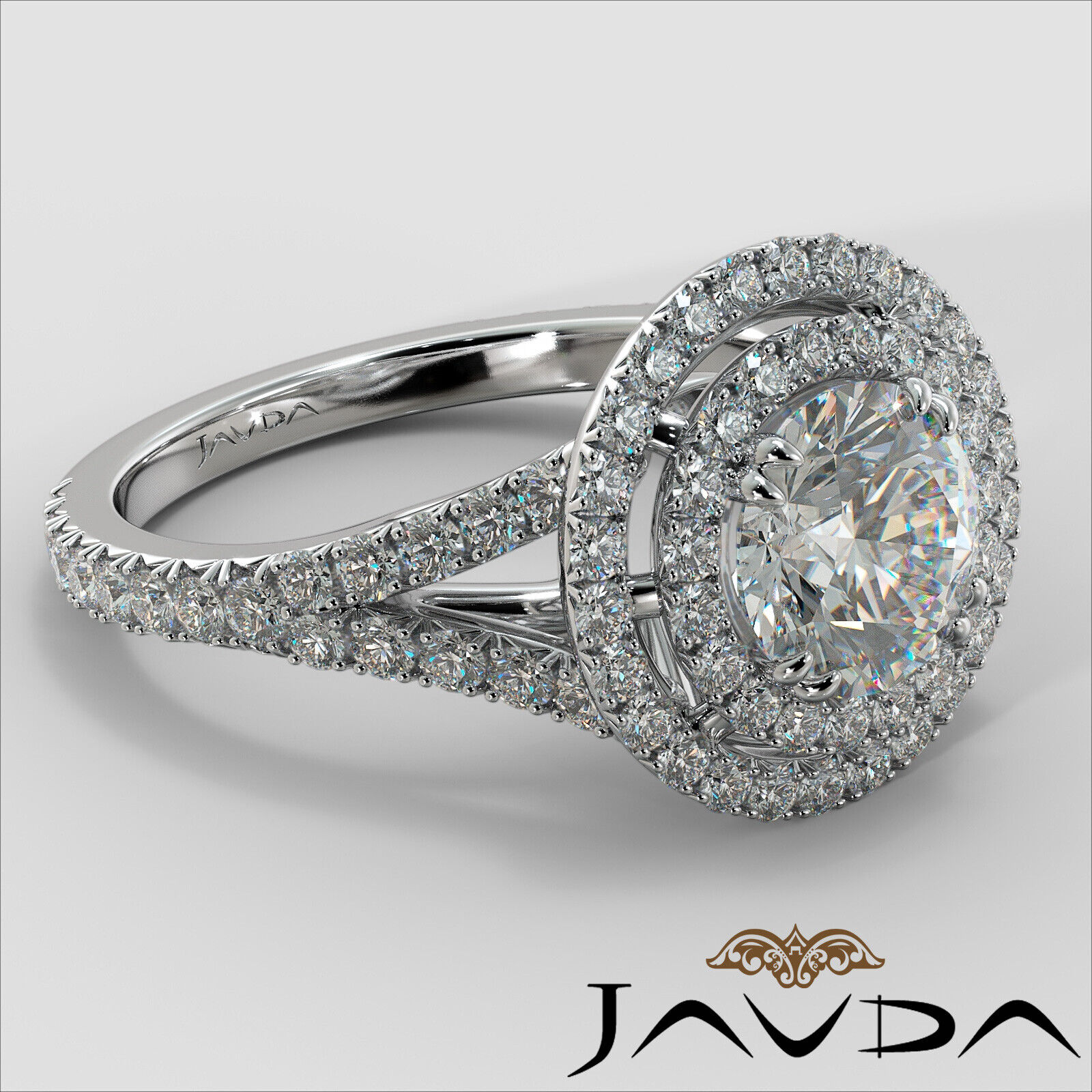 2.05ct French Pave Gala Halo Round Diamond Engagement Ring GIA F-VVS1 White Gold 2