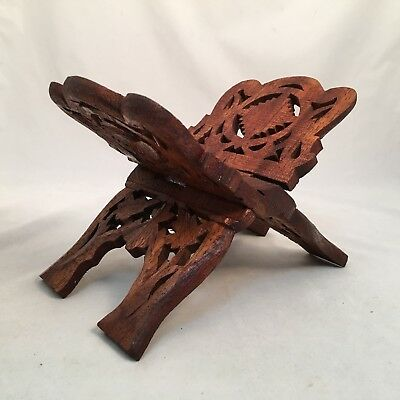 Sheesham Hand Carved Wood Folding Book Stand India Cookbook Bible Holder Display