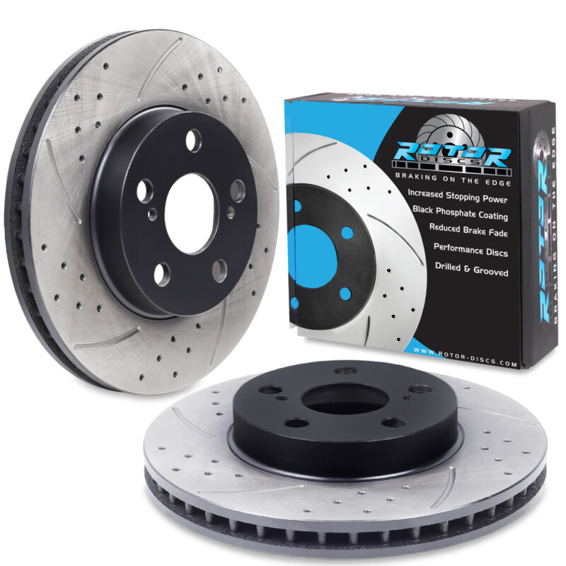 FRONT DRILLED GROOVED 255mm SPORT RACE BRAKE DISCS PAIR FOR LEXUS CT 200H 11+