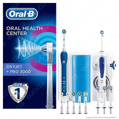 Oral B Kit Igiene Orale Spazzolino Elettrico Pro 3000 e Idropulsore Oxyjet Braun
