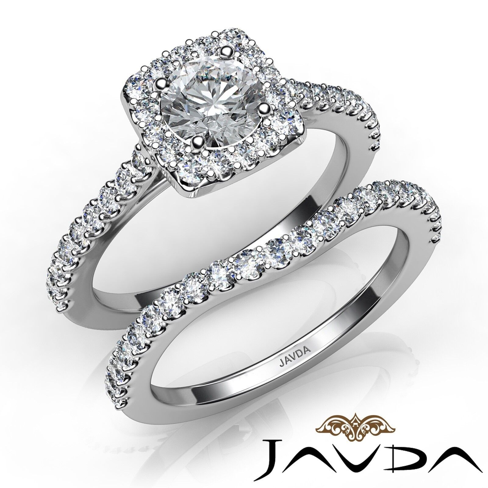 1.56ctw Halo U Prong Bridal Set Round Diamond Engagement Ring GIA F-VVS2 W Gold