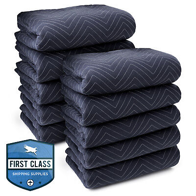 10 Moving Blankets Furniture Pads - Pro Economy - 80 X 72 Navy Blue And Black