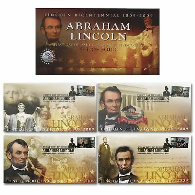 PRESIDENT LINCOLN Bicentennial 2009 First Day Issue Stamps Postmark Envelope S/4 - First Day Envelope