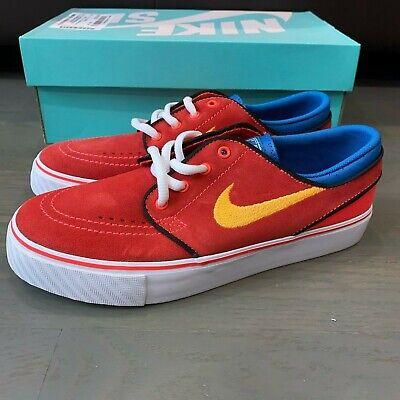 New Nike SB Stefan Janoski Canvas Superman Red Yellow Blue Kids Size 5 5Y Youth ()