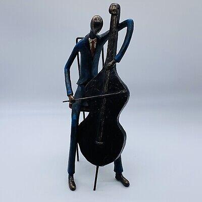 "1950s Mens Suits & Sport Coats   50s Suits & Blazers Vintage Hand Crafted Metal Man Playing Instrument Deco Blue Suit  12.25""T $39.99 AT vintagedancer.com"