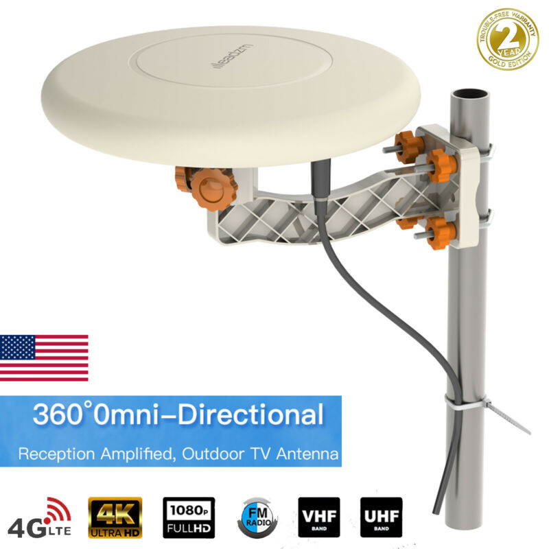 360° Omni-directional Outdoor Amplified TV Antenna Digital UHF VHF FM 4K HDTV US