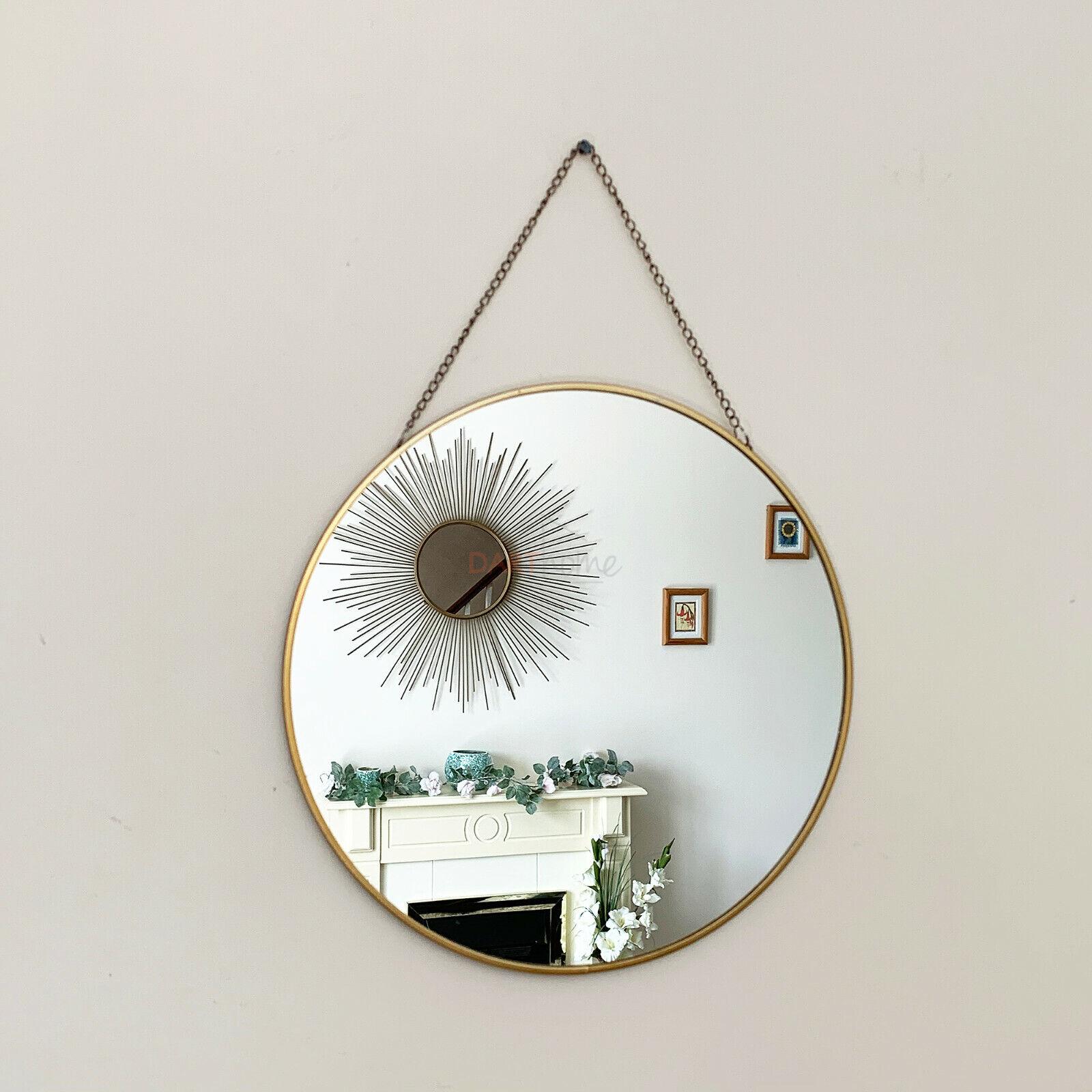 mirror - Vintage Round Chain Hanging Gold Frame Bathroom Shaving Glass Wall Decor Mirror