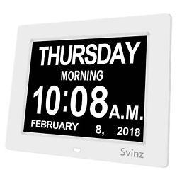 SVINZ 8 Digital Calendar Alarm Day Clock with 3 Alarm Options, Extra Large