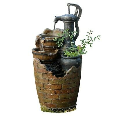 Cascading Water Fountain Old Fashioned Water Pump Buckets Rustic Planter -