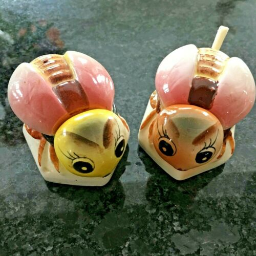 Vintage Honey Bumble Bee Honey Pot Set Lot  Bug Japan Hand Painted ADORABLE!