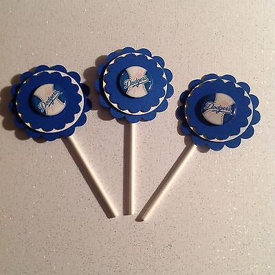 Mlb Los Angeles Dodgers Cupcake Toppers Birthday Party Supplies Handmade - Dodgers Party Supplies