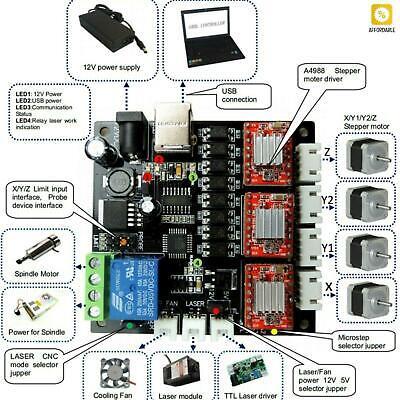 Grbl Laser Controller Board Cnc Usb 3 Axis Stepper Motor Driver Controller Board