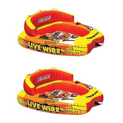AIRHEAD A Live Wire 2 Inflatable 1-2 Rider Boat Towable Lake Water Tube (2 Pack)