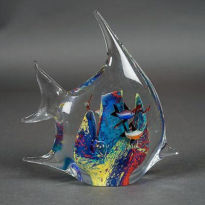 """Vintage Art Glass Fish-Shape Aquarium Fish Tank Paperweight Blue 7""""x6.75""""x2.75"""""""