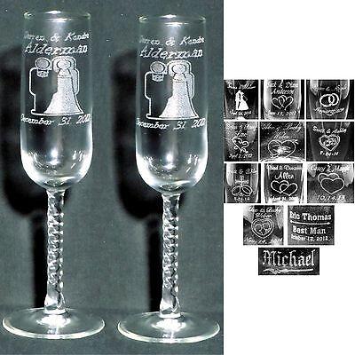 Toasting Flutes For Wedding (Set of 2 Personalized Toasting Flutes - Laser Engraved for Wedding Party)