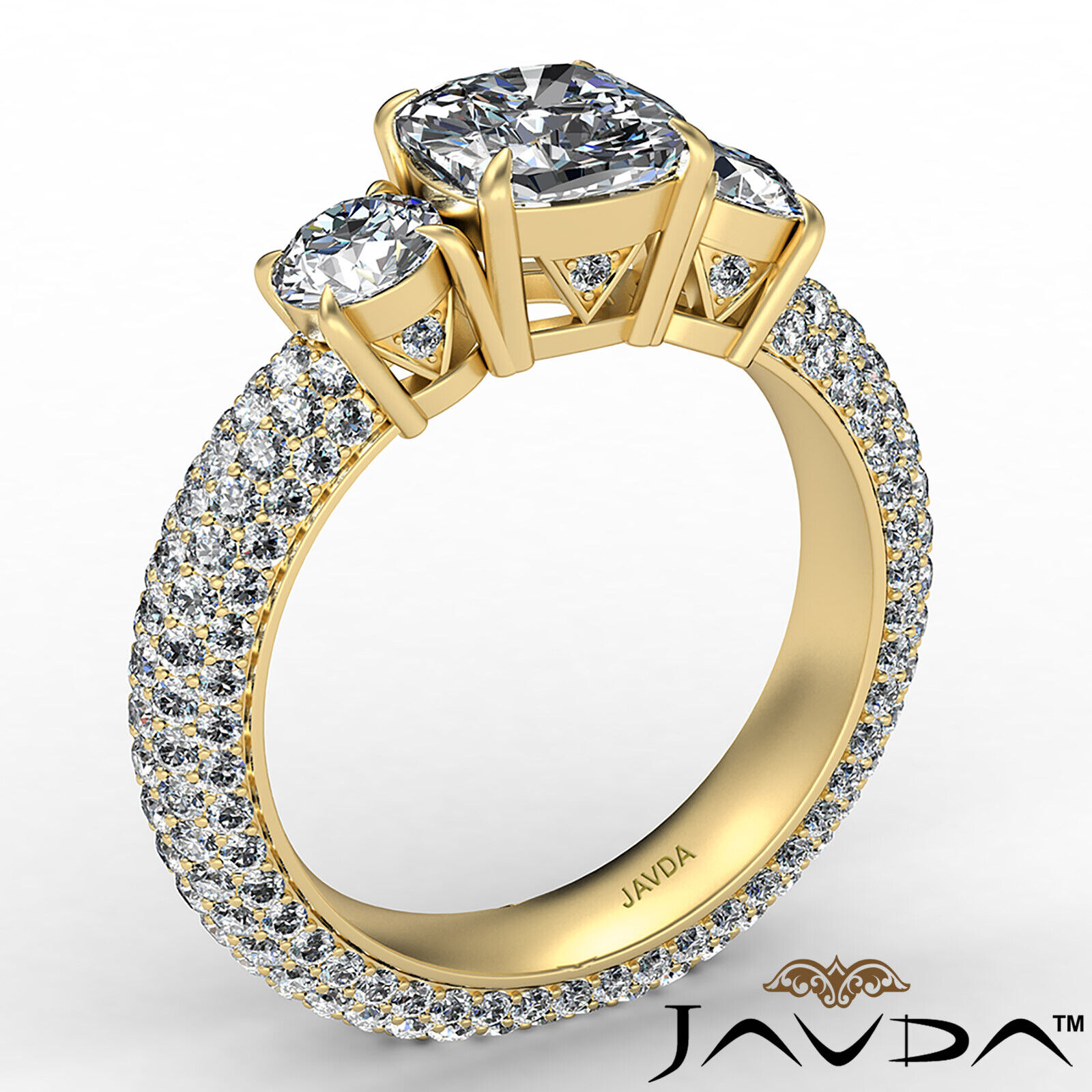 Cushion Diamond Engagement Ring Certified by GIA, G Color & SI1 clarity 3.44 ctw 4