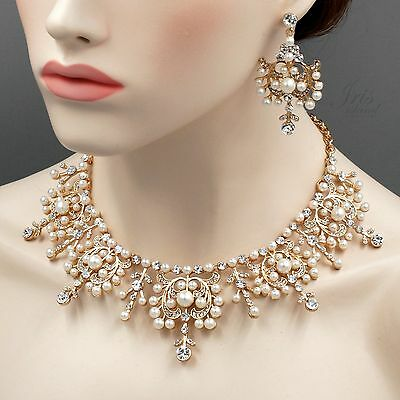 Gold Plated GP Pearl Crystal Necklace Earrings Bridal Wedding Jewelry Set 05410