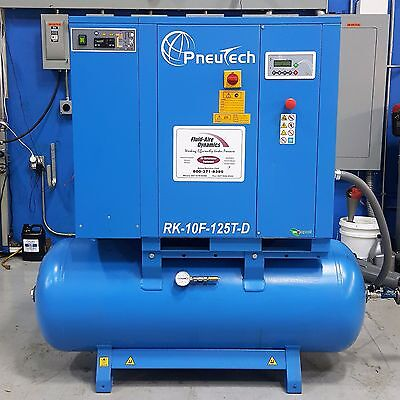 Used Pneutech 10 HP Rotary Screw Air Compressor With Integrated Dryer Very Quiet