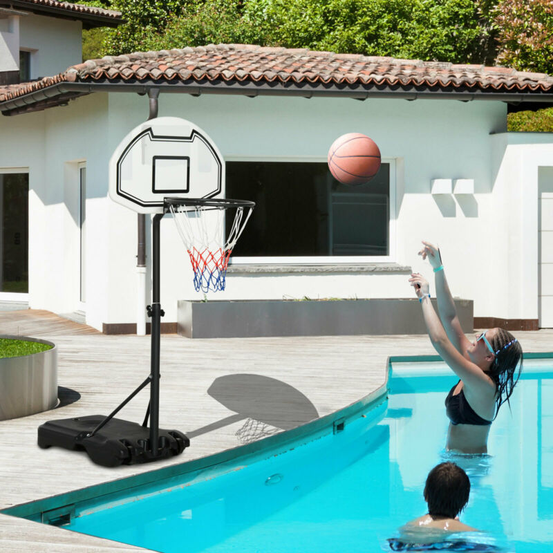 Poolside Basketball Hoop System Pool Water Sport Game Play Outdoor Adjustable
