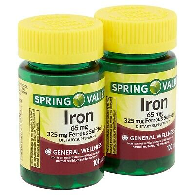 SPRING VALLEY IRON TABLETS 65mg 200ct (2 x 100CT) 325mg Ferrous Sulfate Sulfate 200 Tablets