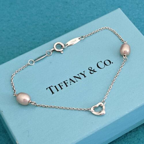 Tiffany & Co Elsa Peretti By The Yard Open Heart Pink Pearl Bracelet w Pouch Box