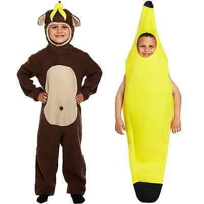 Monkey Banana Kostüm (Banana Monkey Fancy Dress Up Childrens Costume Outfit Fruit Novelty Animal Food)
