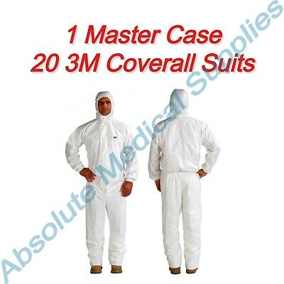 20-pieces 3m Disposable Protective White Hooded Coverall Suit Medium 4545 Case
