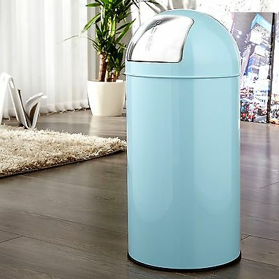 "RETRO METAL REFUSE PUSH RUBBISH BIN 40 liters 25.6"" x 11.8"" light blue"