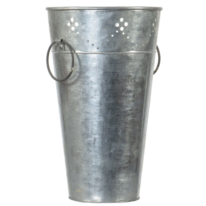 "13"" Rustic Galvanized Tin Metal Flower Planter Vase with Two Circular Handles"