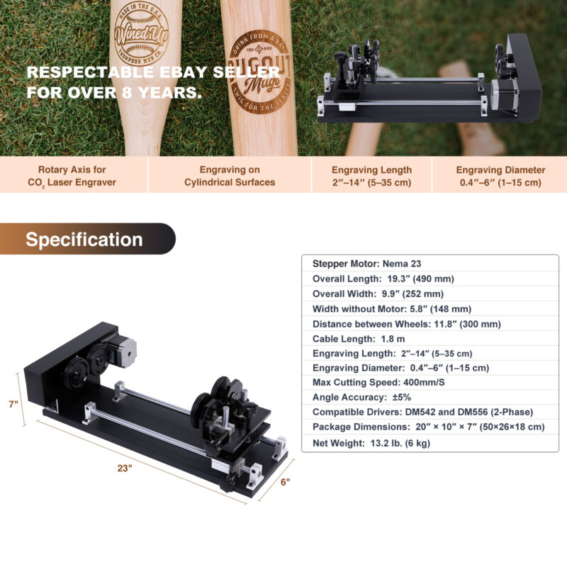 4-Wheel Rotary Axis Rotation Device For 50W 60W 80W 100W 130W CO2 Laser Engraver - $61.85