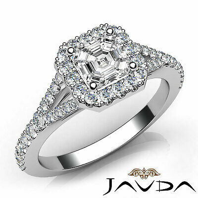 Split Shank Halo French Pave Set Asscher Diamond Engagement Ring GIA H VS2 1 Ct