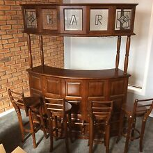 Solid Timber bar 4 x stools man cave Endeavour Hills Casey Area Preview