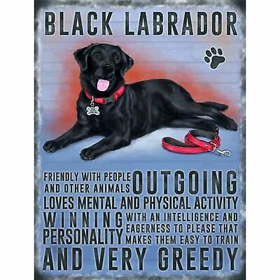 Black labrador dog personality Metal Wall Sign  for sale  United Kingdom