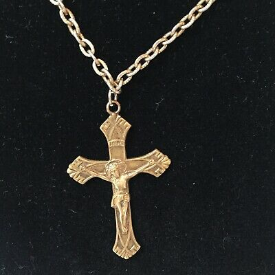 Vintage brass art Deco Maltese cross 0endant necklace