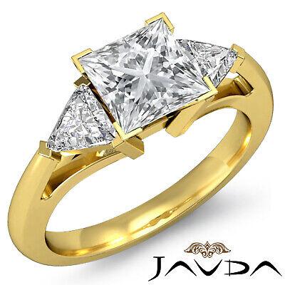 Trillion Cut 3 Stone Princess Diamond Engagement Ring GIA Certified I SI1 1.8 Ct 6