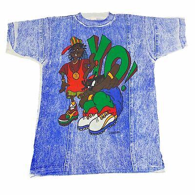 "Vintage Looney Tunes ""YO!"" All Over Print T-Shirt Hip-Hop Rap Iceberg History"