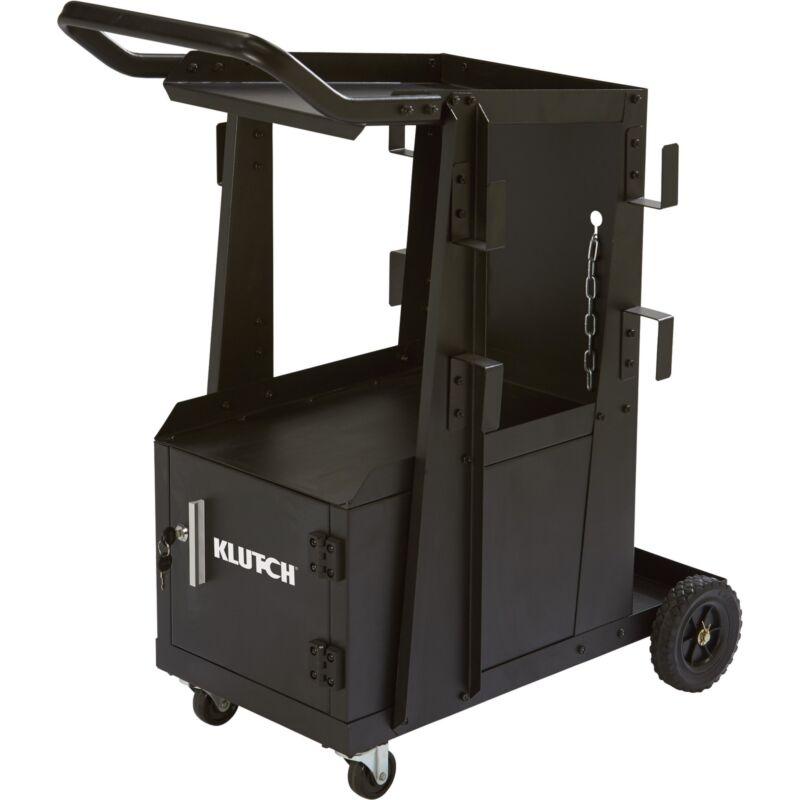 Klutch 2-Tier Welding Cart w/Locking Cabinet- 27 1/4inL x 18 3/4inW x 35 3/4inH