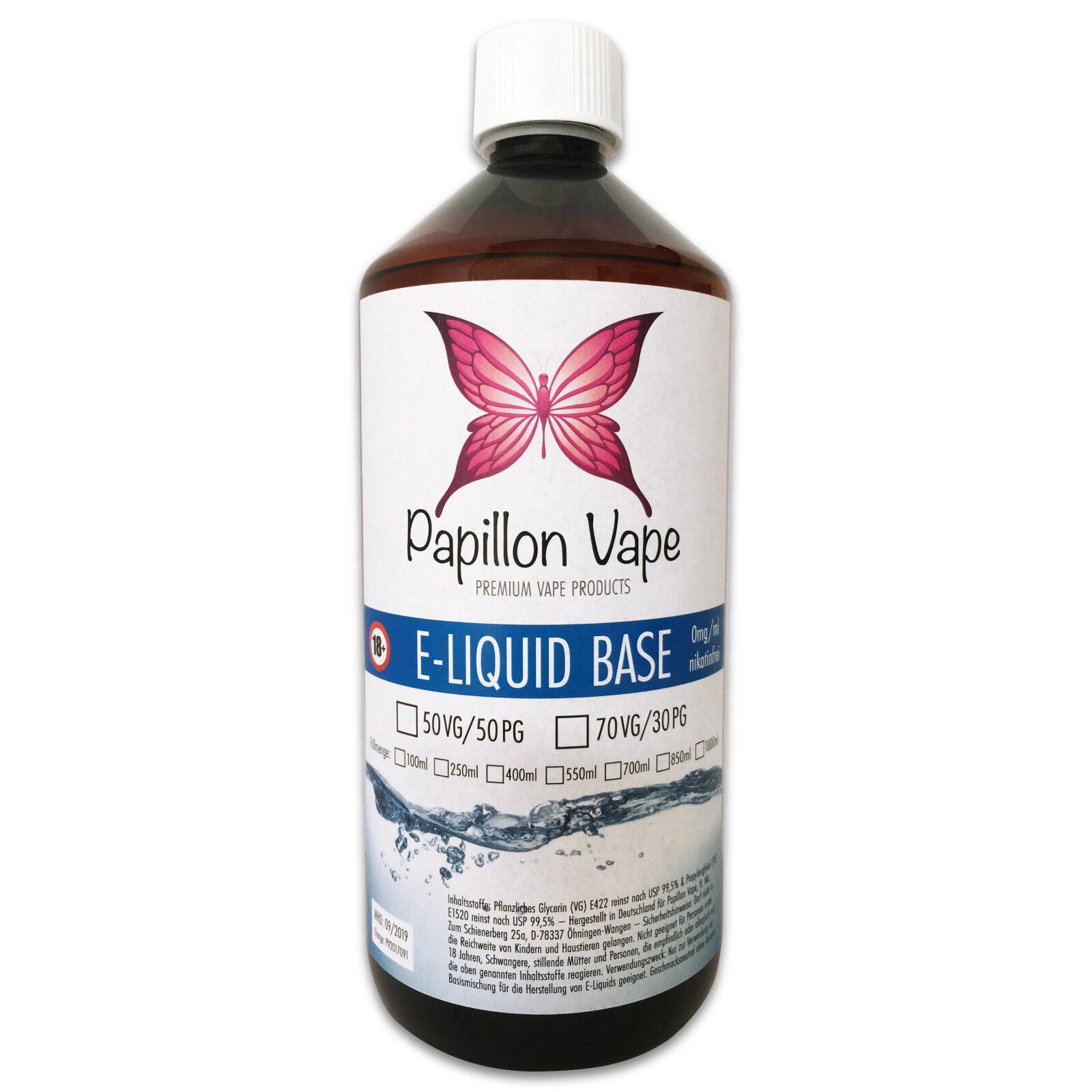1 Liter E Liquid Base DIY-Set 0/3/6/9/12/15/18mg Nikotin Shots VG/PG 50/50 70/30