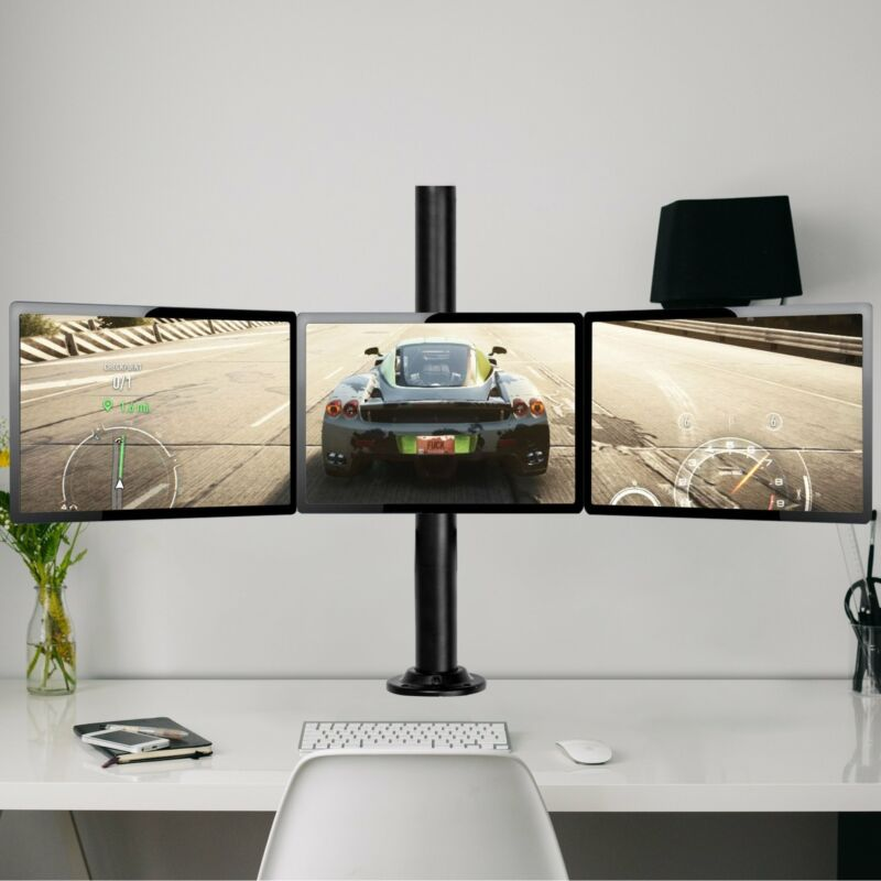 """Heavy Duty 3 Monitor Arm Desk Table Mount Stand Triple-end for 13-22"""" Screen"""