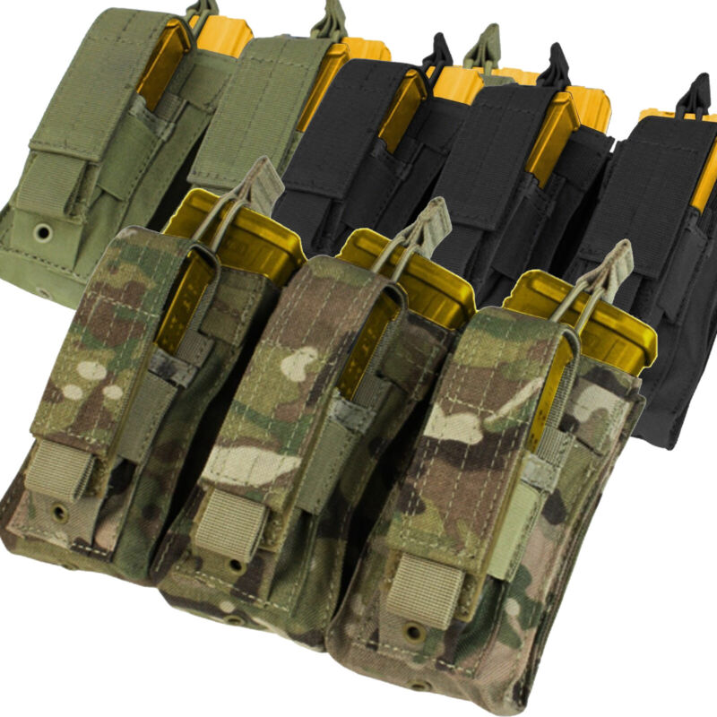 Tactical Molle Triple Open Top Magazine Pouch for 5.56 .223 Rifle Mag Holder Bag