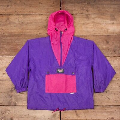 "Mens Vintage 1990s K-Way Purple Quarter Zip Nylon Jacket Raincoat XS 32"" R7225"